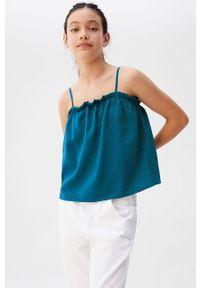 Niebieska bluzka Mango Kids na co dzień, casualowa, bez rękawów