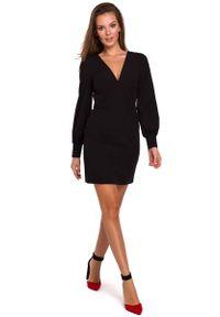 MAKEOVER - Sukienka z Długim Bufiastym Rękawem - Czarna. Kolor: czarny. Materiał: poliester, elastan