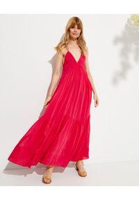 ISABEL MARANT - Różowa sukienka maxi Katniss. Kolor: fioletowy, różowy, wielokolorowy. Materiał: materiał. Długość rękawa: na ramiączkach. Długość: maxi
