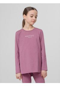 4f - Longsleeve dziewczęcy (122-164). Kolor: różowy. Materiał: bawełna, dzianina. Długość rękawa: długi rękaw. Wzór: nadruk