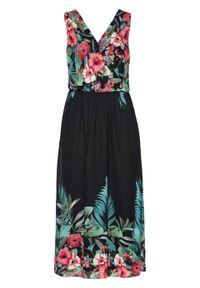 Czarna sukienka bonprix maxi, z nadrukiem