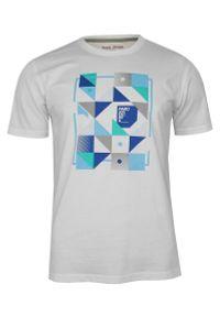Pako Jeans - Biały Bawełniany T-Shirt -PAKO JEANS- Męski, Okrągły Dekolt, Krótki Rękaw, z Motywem Geometrycznym. Okazja: na co dzień. Kolor: niebieski. Materiał: bawełna. Długość rękawa: krótki rękaw. Długość: krótkie. Wzór: geometria. Styl: casual