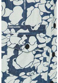 Niebieska koszula Levi's® krótka, w kolorowe wzory, biznesowa, z włoskim kołnierzykiem
