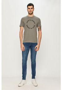Szary t-shirt Jack & Jones na co dzień, z nadrukiem, casualowy