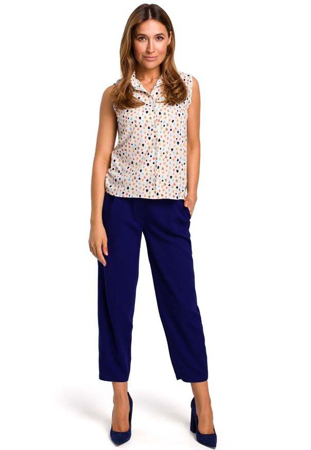 MOE - Wzorzysta Koszulowa Bluzka bez Rękawów - Model 2. Materiał: elastan, poliester. Długość rękawa: bez rękawów