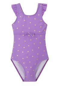 Kostium kąpielowy dziewczęcy bonprix jasny lila z nadrukiem. Kolor: fioletowy. Wzór: nadruk
