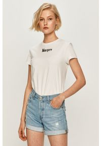 Biała bluzka Miss Sixty z aplikacjami, casualowa, z okrągłym kołnierzem, na co dzień
