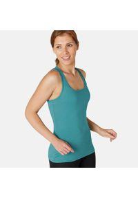 NYAMBA - Koszulka bez rękawów top fitness damski Nyamba. Kolor: niebieski. Materiał: lyocell, bawełna, materiał, elastan, poliester. Długość rękawa: bez rękawów. Sport: fitness