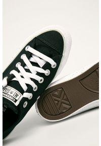 Czarne tenisówki Converse na średnim obcasie, na sznurówki, z cholewką, z okrągłym noskiem