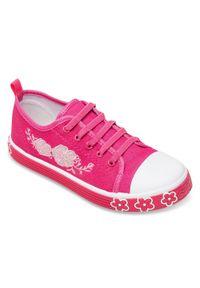 UNDERLINE - Trampki dziecięce Underline FY1801 Różowe. Zapięcie: bez zapięcia. Kolor: różowy. Materiał: tkanina, skóra, guma