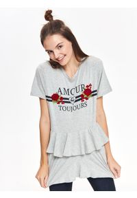 Szary t-shirt TROLL z krótkim rękawem, krótki