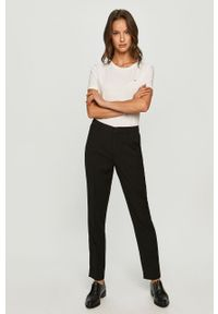 Biała bluzka Tommy Jeans na co dzień, z okrągłym kołnierzem, casualowa