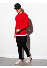Ombre Clothing - Bluza męska bez kaptura B1217 - czerwona - XXL. Typ kołnierza: bez kaptura. Kolor: czerwony. Materiał: poliester, bawełna