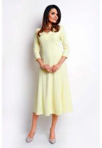 Nommo - Żółta Elegancka Rozkloszowana Sukienka z Dekoltem V. Kolor: żółty. Materiał: poliester, wiskoza. Styl: elegancki