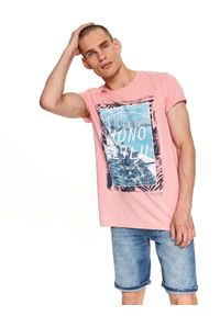 Różowy t-shirt TOP SECRET z nadrukiem