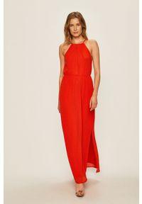 Czerwona sukienka Vila prosta, casualowa, na ramiączkach, na co dzień