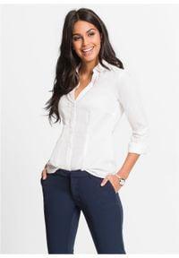 Bluzka ze stretchem bonprix Bluzka ze stretchem biel wełny. Kolor: biały. Materiał: wełna. Długość rękawa: długi rękaw. Długość: długie