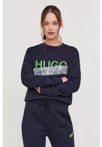 Niebieska bluza Hugo bez kaptura, z nadrukiem