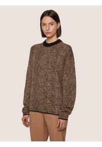 Brązowy sweter klasyczny BOSS