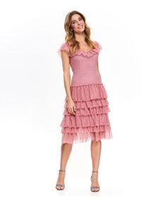 Różowa sukienka TOP SECRET koszulowa, elegancka