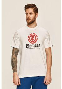 Biały t-shirt Element z nadrukiem, casualowy, na co dzień