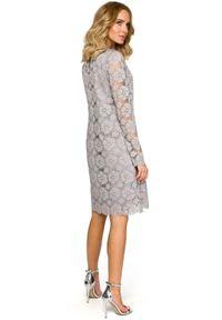 MOE - Wieczorowa koktajlowa koronkowa trapezowa sukienka. Materiał: koronka. Długość rękawa: długi rękaw. Wzór: koronka. Typ sukienki: trapezowe. Styl: wizytowy