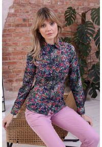 Nommo - Dopasowana Koszula z Kołnierzykiem - Kwiaty. Materiał: wiskoza, poliester. Wzór: kwiaty