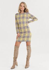 Born2be - Szaro-Żółta Sukienka Iphislith. Kolor: żółty. Materiał: dzianina. Długość rękawa: długi rękaw. Typ sukienki: proste. Styl: klasyczny, retro. Długość: mini