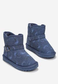 Born2be - Granatowe Śniegowce Nikrach. Zapięcie: bez zapięcia. Kolor: niebieski. Materiał: futro, materiał. Szerokość cholewki: normalna. Wzór: nadruk. Sezon: zima