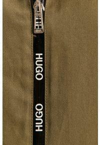 Oliwkowa kurtka Hugo raglanowy rękaw, gładkie