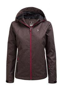 Czarna kurtka narciarska outhorn melanż, ze stójką, na zimę