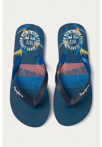 Pepe Jeans - Japonki Hawi Surf. Kolor: niebieski. Materiał: materiał, guma. Obcas: na obcasie. Wysokość obcasa: niski