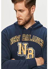 Niebieska bluza nierozpinana New Balance z nadrukiem, casualowa, na co dzień