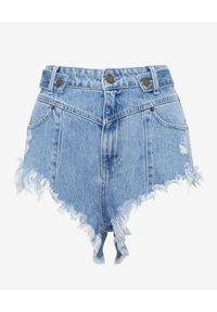 RETROFETE - Niebieskie szorty Tessa. Stan: podwyższony. Kolor: niebieski. Materiał: jeans, wełna. Wzór: nadruk. Styl: elegancki
