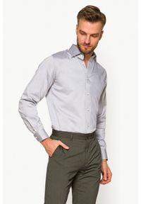 Lancerto - Koszula Szara w Jodełkę Jordan. Kolor: szary. Materiał: tkanina, bawełna. Wzór: jodełka