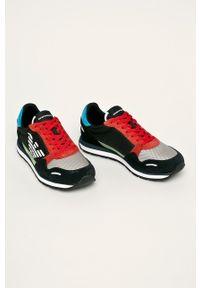 Czarne sneakersy Emporio Armani z cholewką, z okrągłym noskiem, na sznurówki