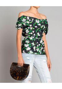 CAROLINE CONSTAS - Bluzka w kwiaty. Kolor: czarny. Materiał: materiał. Wzór: kwiaty. Styl: elegancki