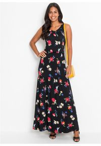 Długa sukienka z nadrukiem bonprix czarny w kwiaty. Typ kołnierza: dekolt w serek. Kolor: czarny. Długość rękawa: bez rękawów. Wzór: kwiaty, nadruk. Długość: maxi