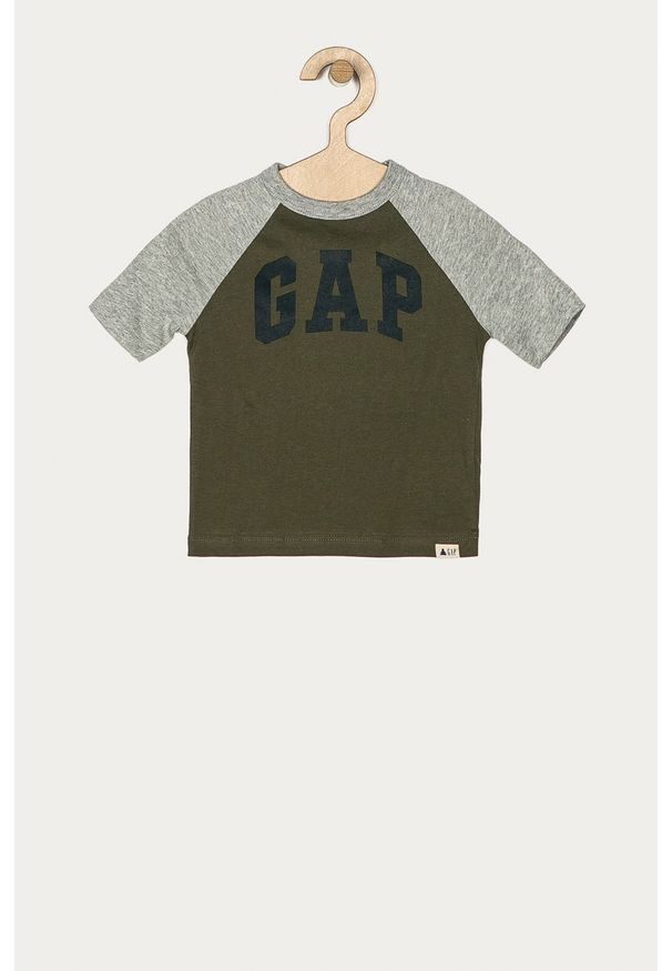 Zielony t-shirt GAP na co dzień, z okrągłym kołnierzem, casualowy, z nadrukiem