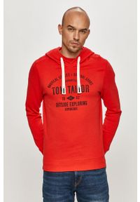 Tom Tailor - Bluza bawełniana. Okazja: na co dzień. Kolor: czerwony. Materiał: bawełna. Wzór: nadruk. Styl: casual