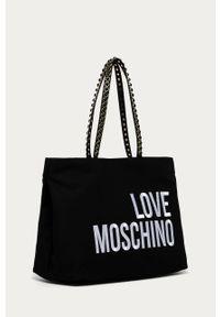 Czarna shopperka Love Moschino z aplikacjami, na ramię, duża