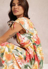 Renee - Zielona Sukienka Yegetohn. Kolor: zielony. Materiał: tkanina. Długość rękawa: na ramiączkach. Wzór: jednolity, kolorowy. Typ sukienki: asymetryczne, rozkloszowane. Długość: midi