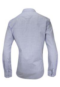 Niebieska elegancka koszula Rey Jay z długim rękawem, na spotkanie biznesowe, melanż