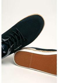 Niebieskie sneakersy Pepe Jeans na sznurówki, z okrągłym noskiem
