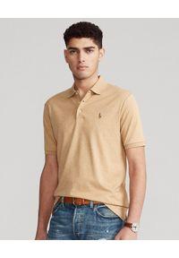 Ralph Lauren - RALPH LAUREN - Beżowa koszulka Polo Custom Fit. Okazja: na co dzień. Typ kołnierza: polo. Kolor: beżowy. Materiał: prążkowany. Wzór: kolorowy, melanż. Styl: casual, klasyczny