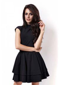 Czarna sukienka z falbanami IVON ze stójką
