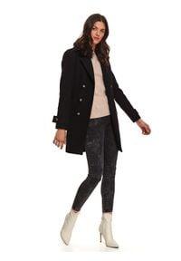 TOP SECRET - Dwurzędowy płaszcz z odpinanym futerkiem. Kolor: czarny. Materiał: futro. Wzór: moro. Sezon: zima. Styl: militarny, elegancki #6