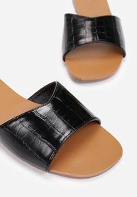 Renee - Czarne Klapki Athizishae. Kolor: czarny. Materiał: skóra. Obcas: na obcasie. Wysokość obcasa: niski