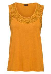 Żółty top bonprix w koronkowe wzory, na lato