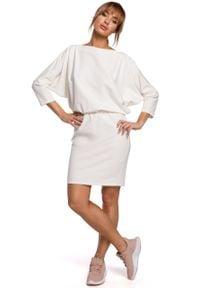 e-margeritka - Dzianinowa sukienka z luźną górą ecru - s/m. Okazja: na co dzień. Materiał: dzianina. Typ sukienki: ołówkowe, dopasowane. Styl: casual. Długość: mini